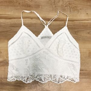 White Flowered Lace Abercrombie Crop Top